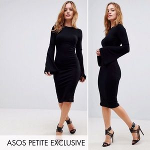 ASOS Petite Black Midi Bodycon Dress